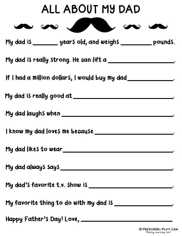 image relating to Father's Day Printable named Free of charge Printable Fathers Working day Questionnaire