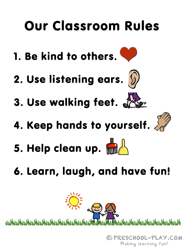 photograph relating to Classroom Rules Printable named Totally free Preschool Clroom Recommendations Printable