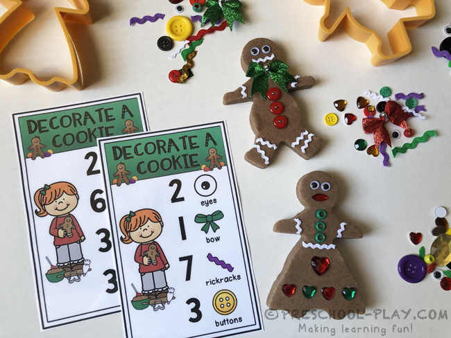 Decorate a Gingerbread Cookie Playdough Activity Cards