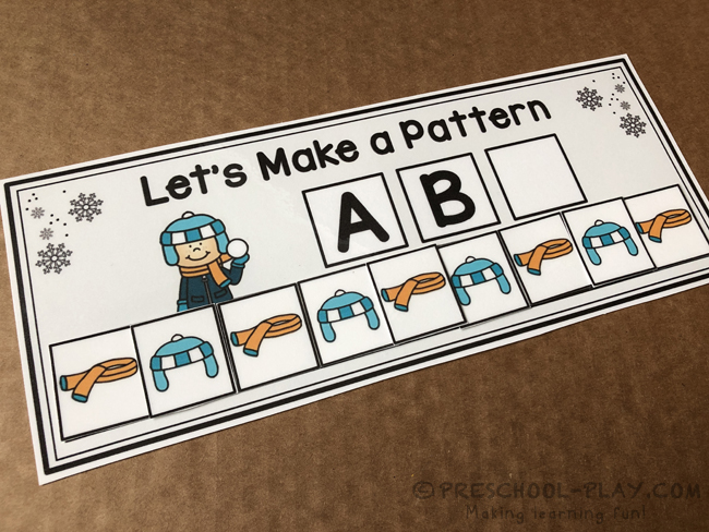 Snow Day Let's Make a Pattern Task Cards