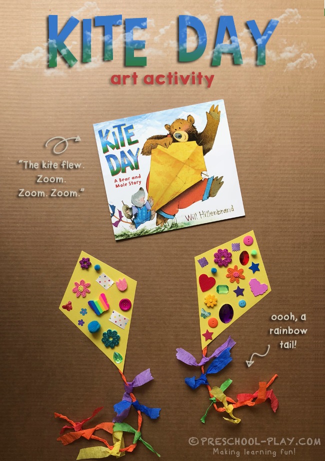 Kite Day A Bear And Mole Story Art Activity Preschool Play