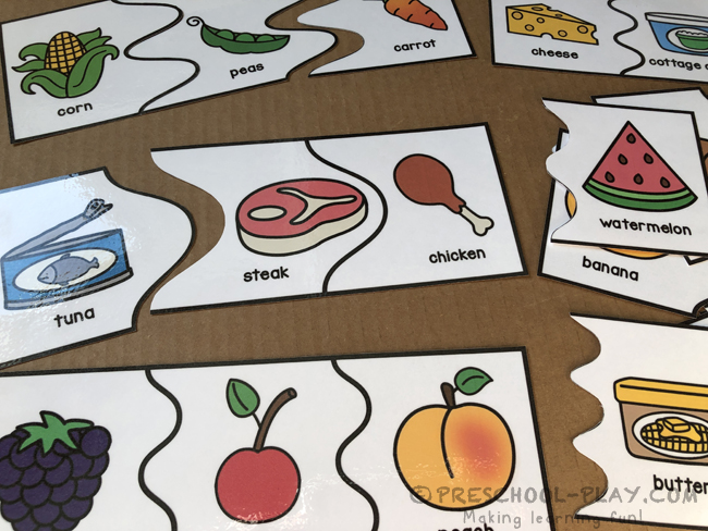 Five Food Groups Association Puzzles