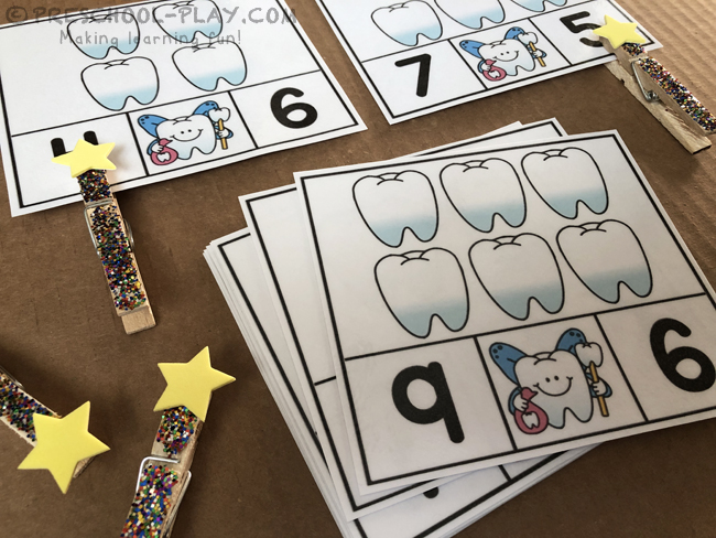Tooth Fairy Count and Clip Task Cards