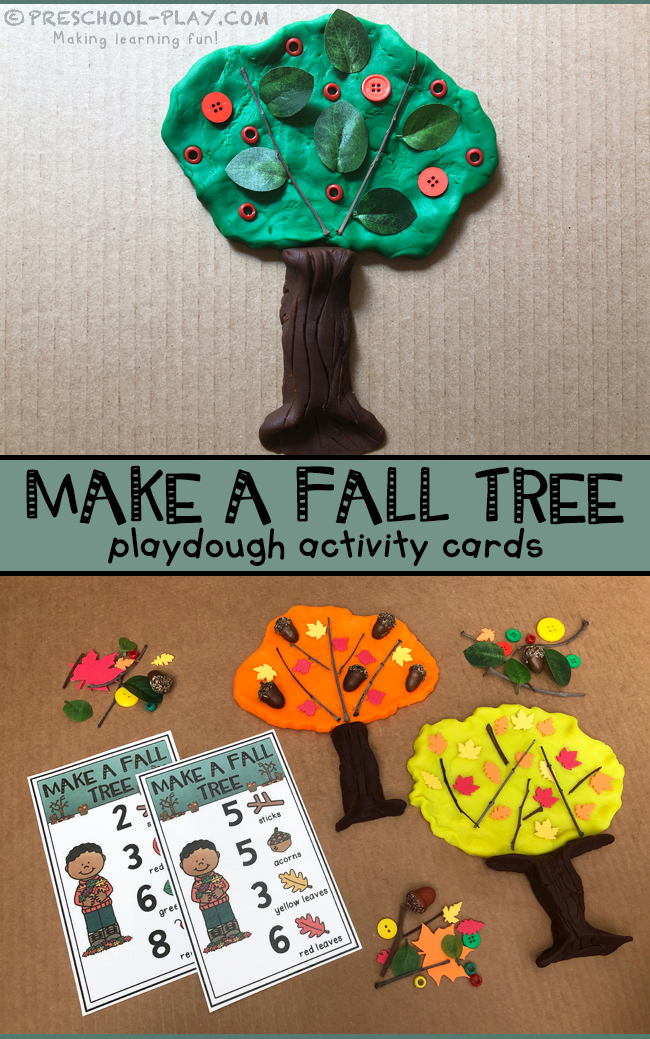 Make a Fall Tree Playdough Activity Cards