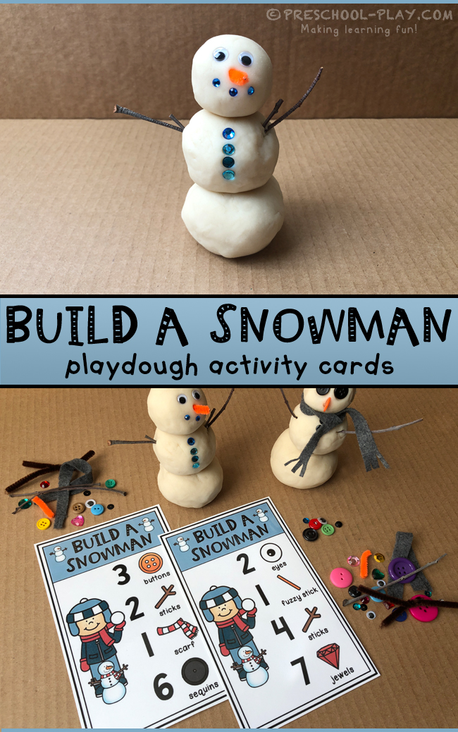 Build a Snowman Playdough Activity Cards