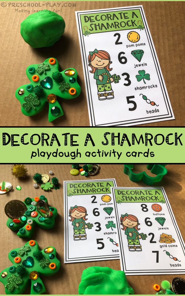 Decorate a Shamrock Playdough Activity Cards