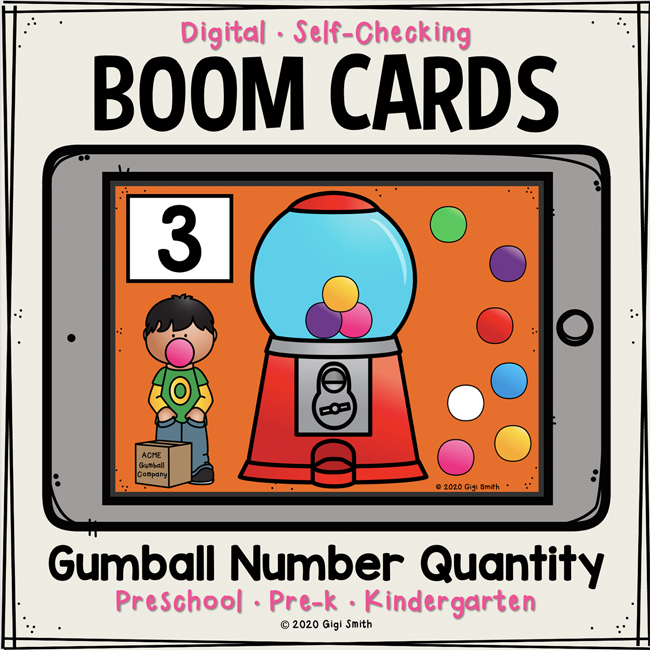 Gumball Number Quantity Boom Cards™