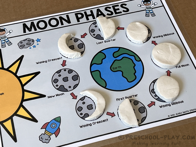 Outer Space Activities - Moon Phases Playdough Mats