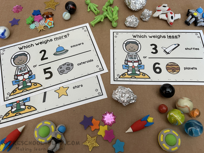Outer Space Measuring Weight Task Cards