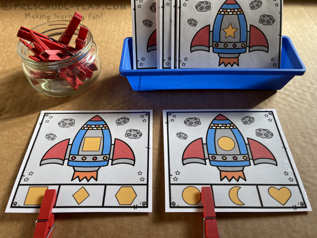 Outer Space Activities - Rocket Shape Clip Cards