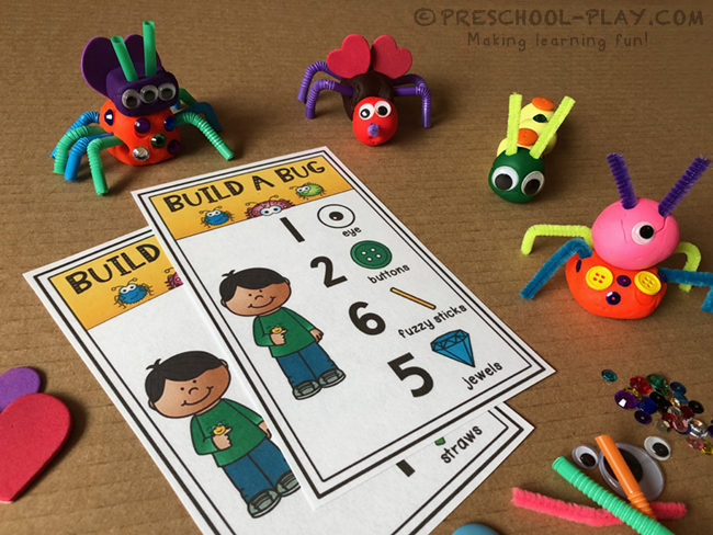 Build a Bug Playdough Activity Cards