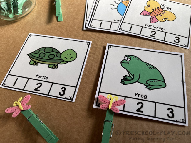 Pond Life Syllable Clap and Count Task Cards