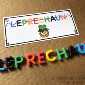 St. Patrick's Day Lace a Word Task Cards