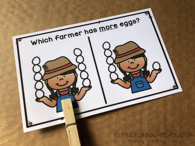 Eggs and Potatoes - More and Less Task Cards