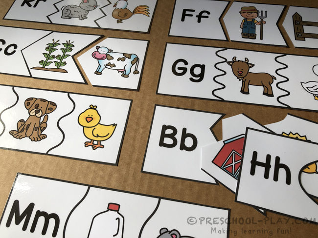 On the Farm Beginning Sounds Puzzles